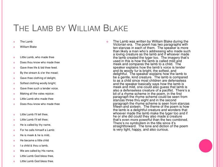 the lamb blake analysis