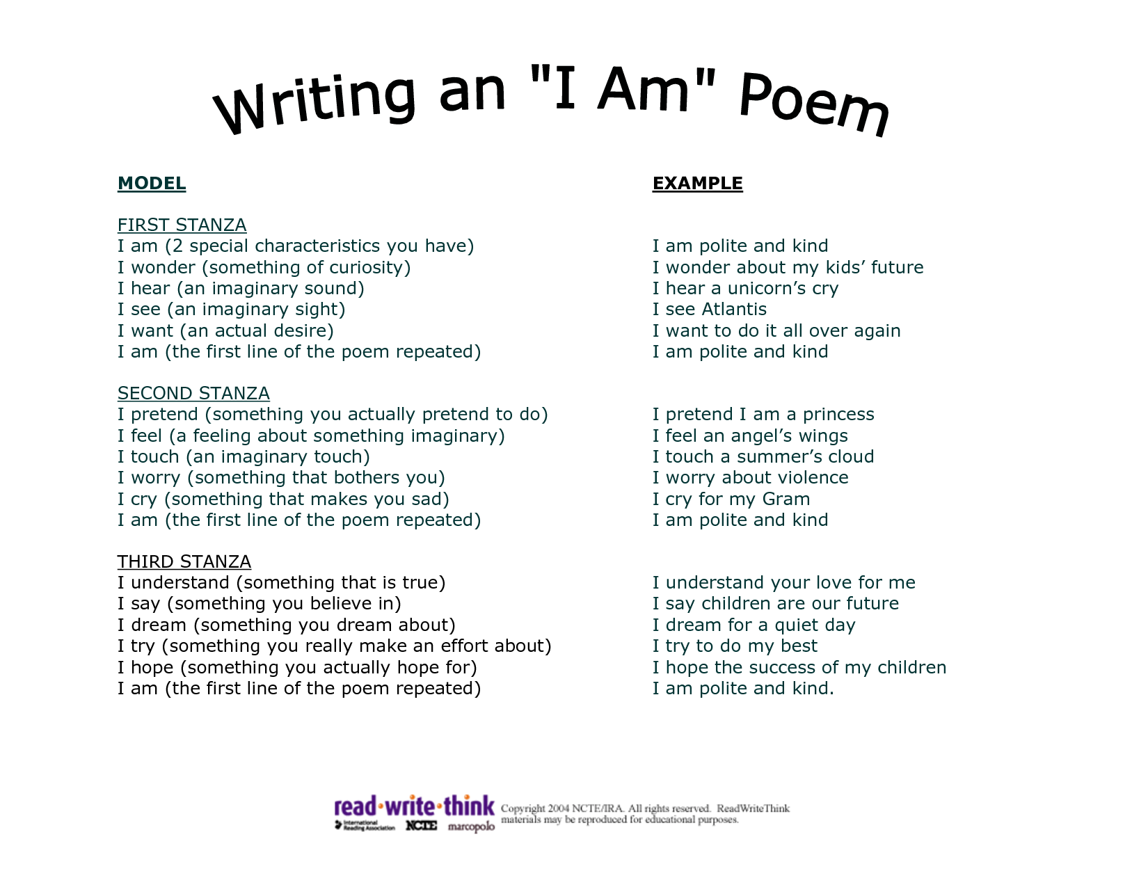 Examples Poems