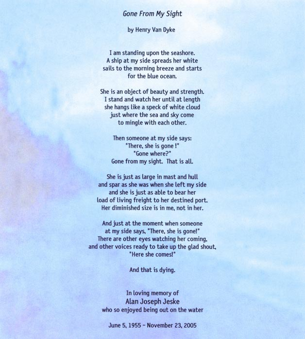 photo about Gone From My Sight Printable Version identify Goodbye mom Poems