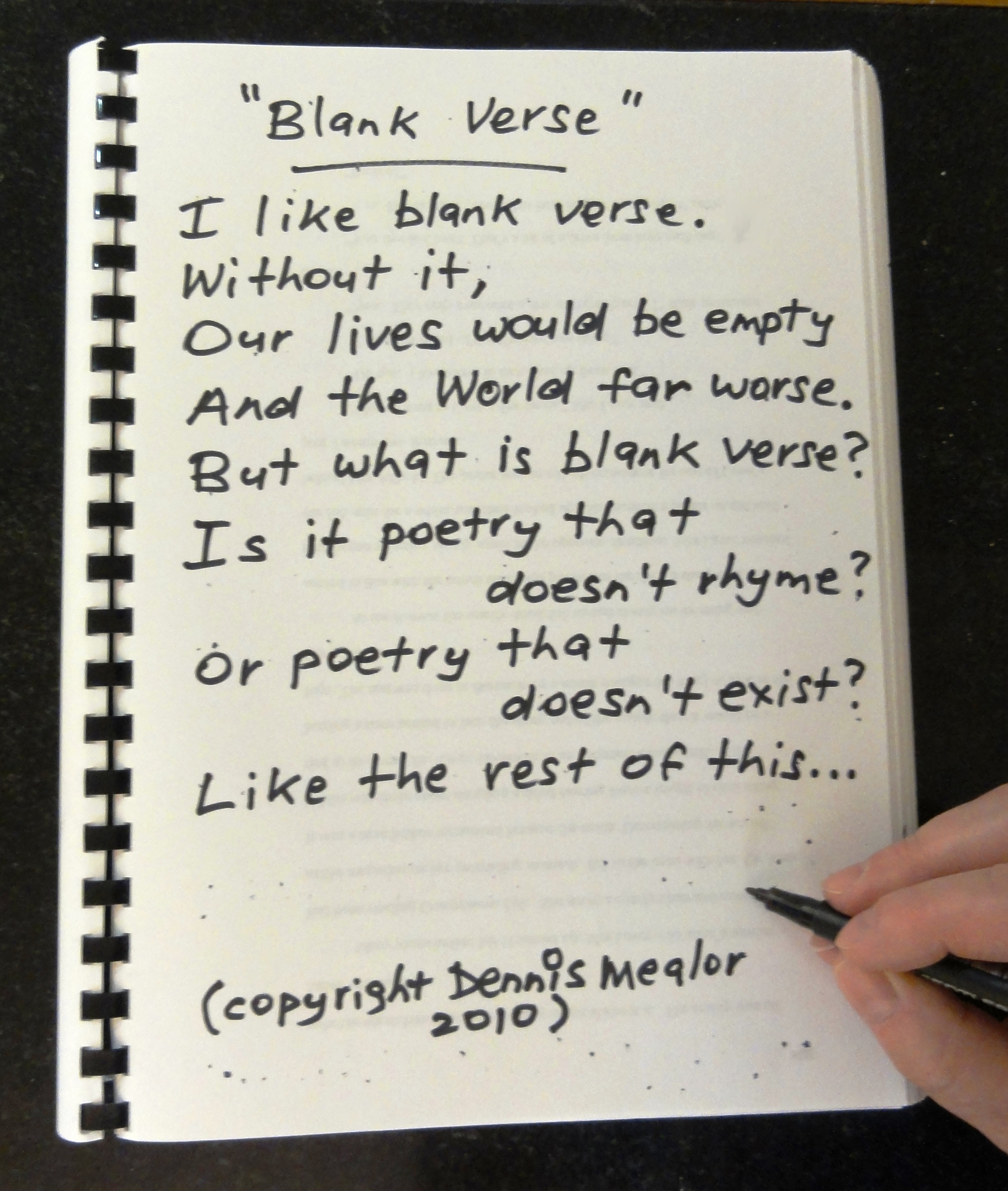 how to write a blank verse