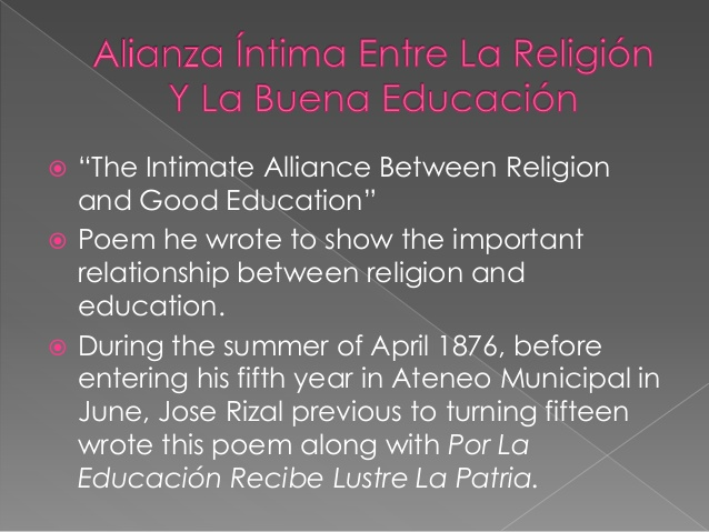 the intimate alliance between religion and good education Religion and good education - is another poem composed when rizal was a student at the ateneo municipal de manila in which the youthful poet expresses his belief in the importance of religion in the education of man haven't found a paper let us create the best one for you what is your topic.