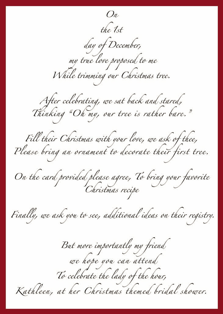 Bridal shower recipe cards poem image bathroom 2017 images of christmas themed bridal shower tree filmwisefo Image collections