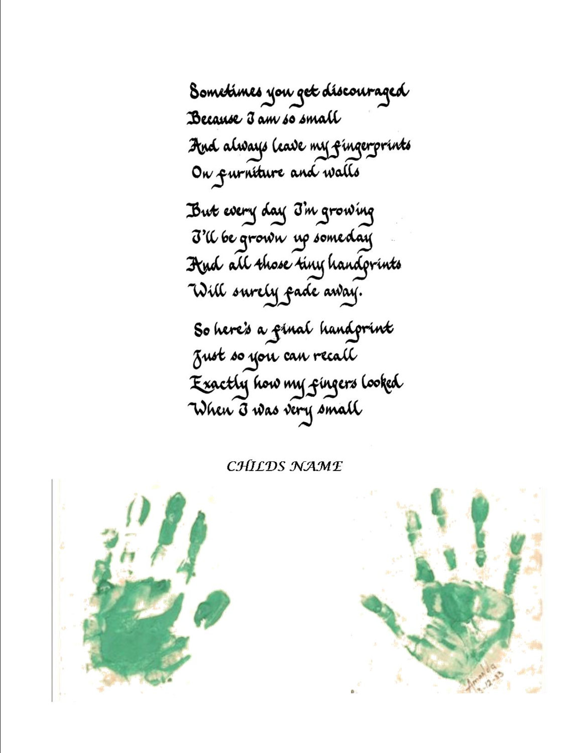 photograph relating to Sometimes You Get Discouraged Handprint Poem Printable titled Handprint Poems