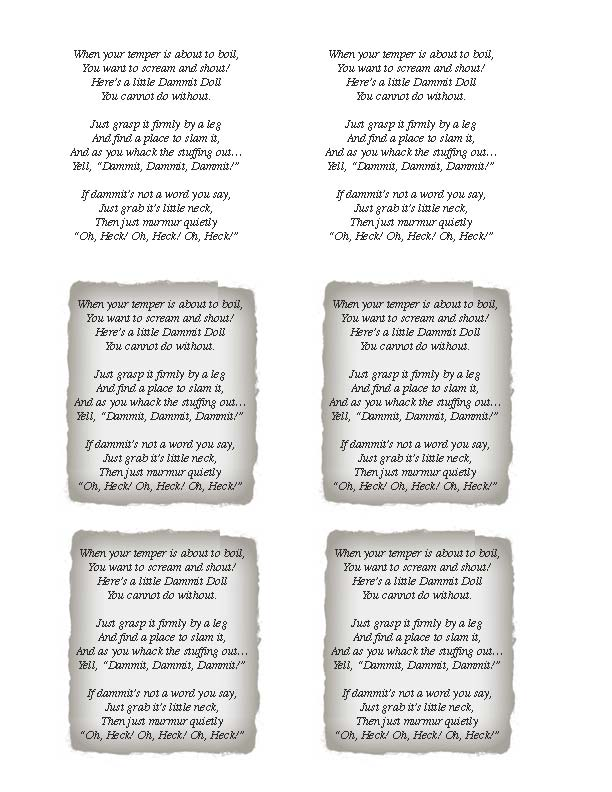 graphic about Dammit Doll Printable Pattern identified as Dammit doll Poems