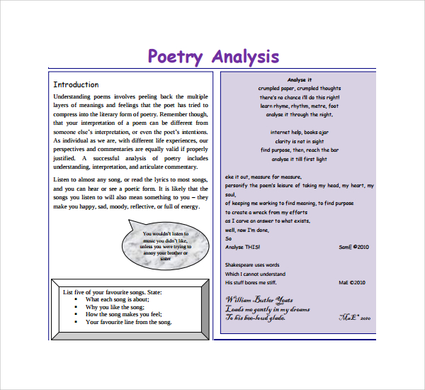 analysis of a poem mid In the body of the analysis, discuss how the poem was written, which poetic devices were used, the tone, the poet's attitude, and the shift of the poem from the beginning to the poet's ultimate understanding of the experience in the end.