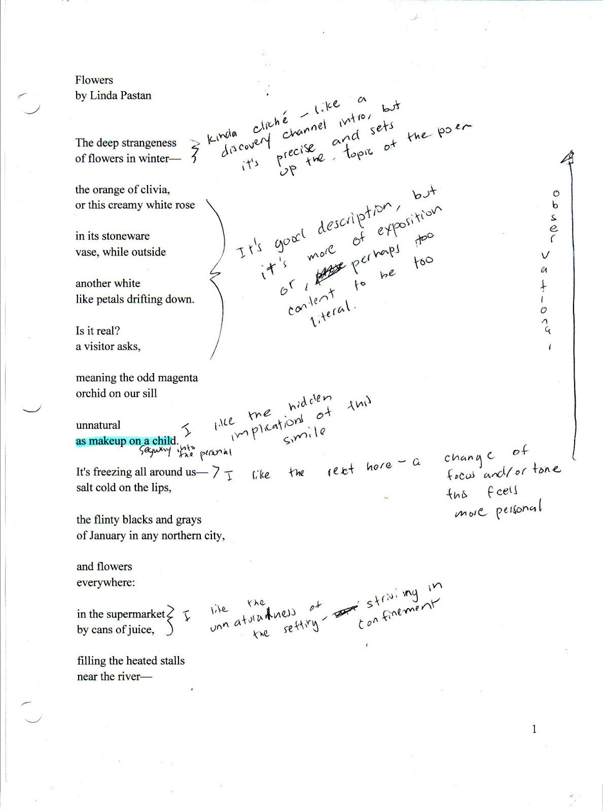 """pov essay on linda pastans marks I chose to analyze the poem """"marks"""" my linda pastan this entire poem is one giant extended metaphor pastan uses the grades a student would get in."""