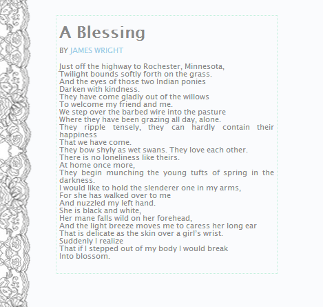 a blessing by james wright answers