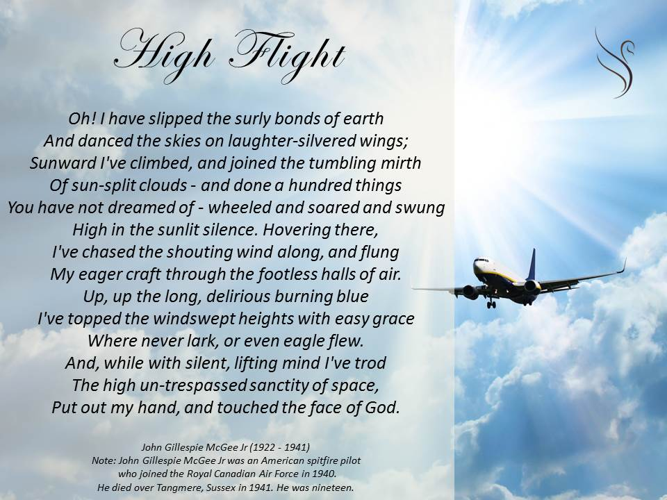 photo about High Flight Poem Printable identify Funerals Poems
