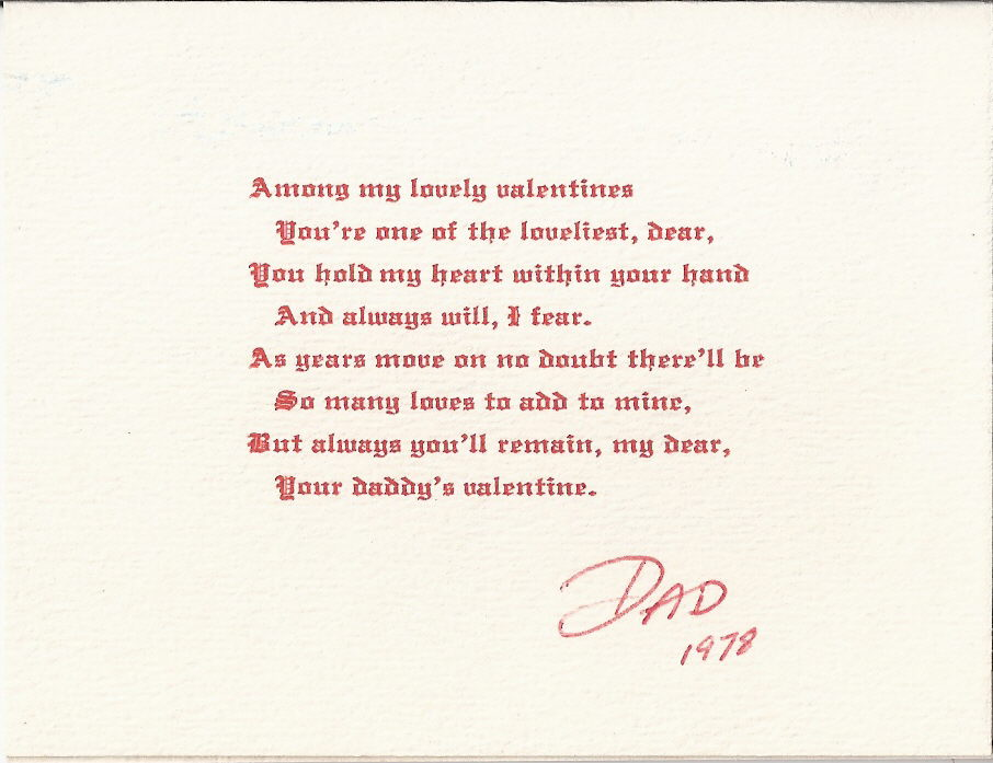Valentines Day Quotes For Dad From Daughter: Daughter Valentine Poems