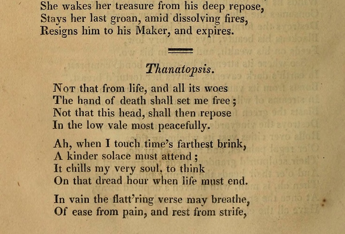 the relationship between life and death in thanatopsis poem by william cullen bryant The poem, thanatopsis, written by , is a wonderful literary work which explores the often controversial questions of death within his well written lines bryant attempts to show the relationship between death's eternal questions and the ongoing cycle.