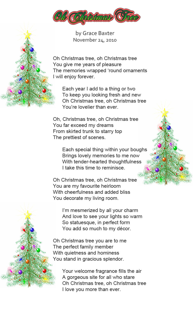 its about christmas oh christmas tree by grace baxter - Oh Christmas Tree How Lovely Are Your Branches Lyrics