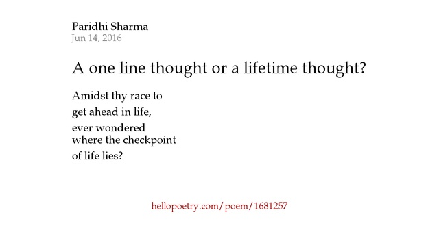 One Line Poems
