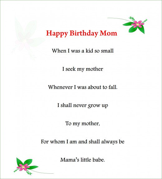 Happy Birthday Mom Poems
