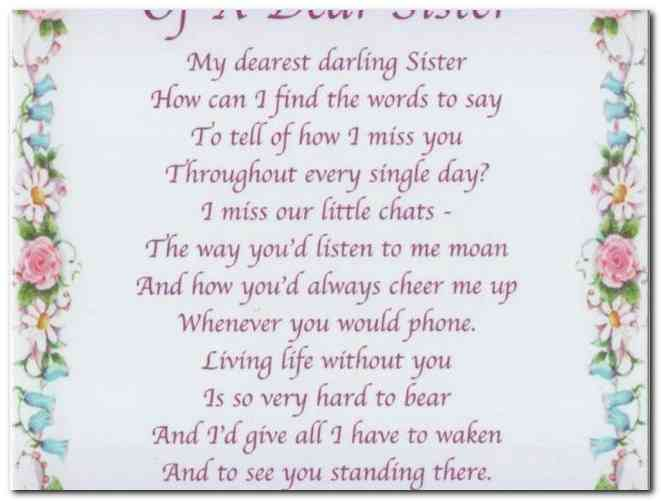 Happy Birthday Poem For Sister In Heaven Archidev