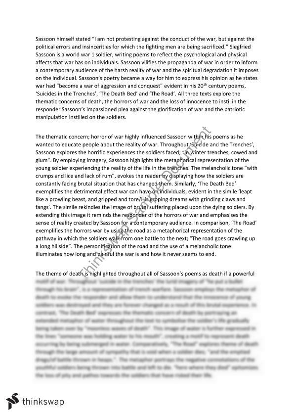 war poetry analysis essay Рефераты - иностранный язык - analysing war poetry essay research paper comparing the poet, rupert brooke, was a soldier in the war, as were the other poets, but is writing early on so his manner tells me he almost expects not to die, and that the war will be over quickly.