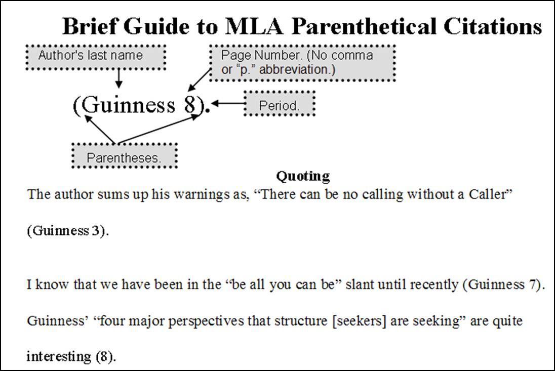 mla format citation page