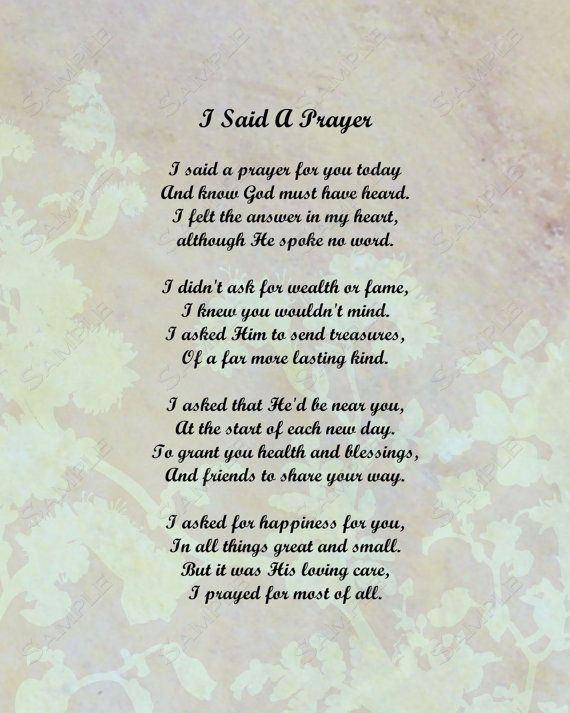 photo relating to I Said a Prayer for You Today Printable called Prayer Poems