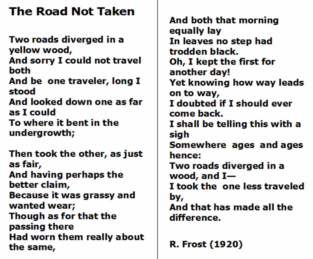 photo relating to The Road Not Taken Printable referred to as Street Poems