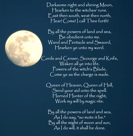 Witches spells Poems