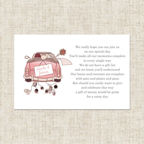 Wedding Car Gift Card Stationery