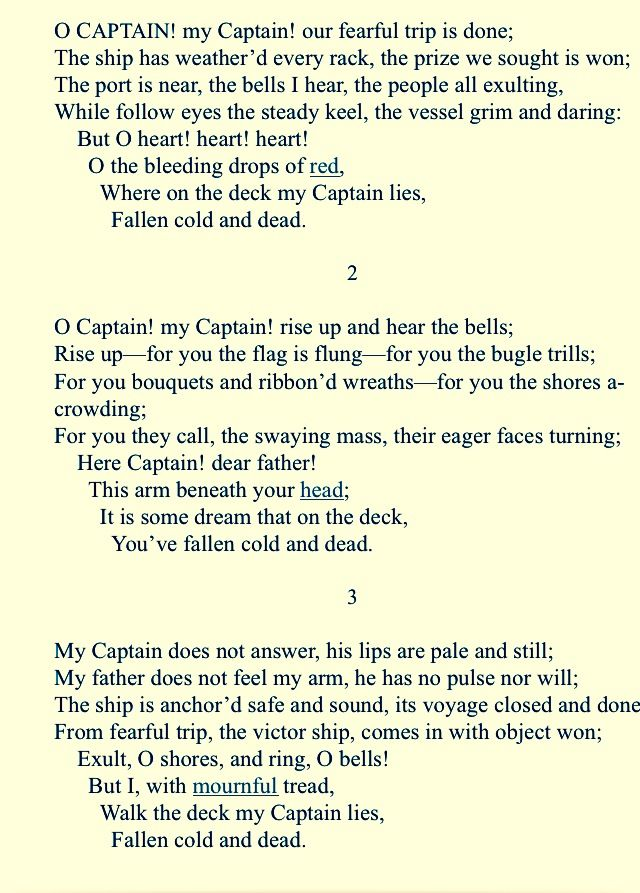 o captain my captain literary devices