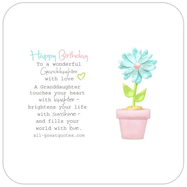 Happy Birthday Granddaughter S Verses Wishes