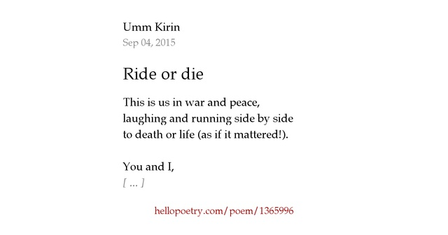 ride or die relationship poems poetry