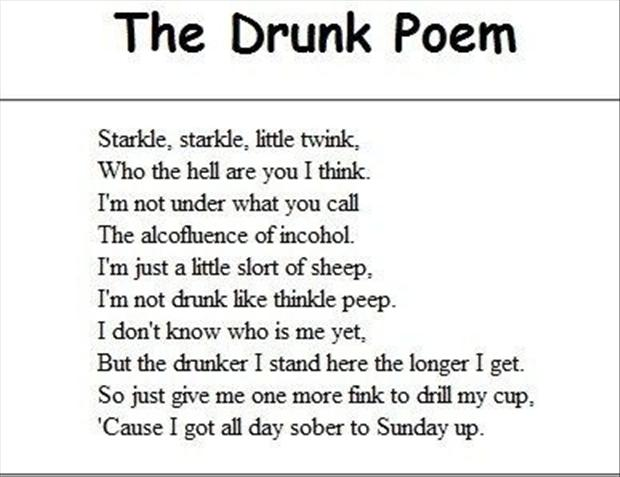 Image of: Short The Drunk Dump Day Famous Quotes Funny Poems