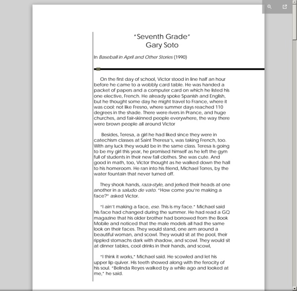 essay for gary soto Gary soto buried onions 37-page comprehensive study guide this 37-page guide for buried onions by gary soto includes detailed chapter summaries and analysis covering 9 featured content includes commentary on major characters, 25 important quotes, essay topics, and key.