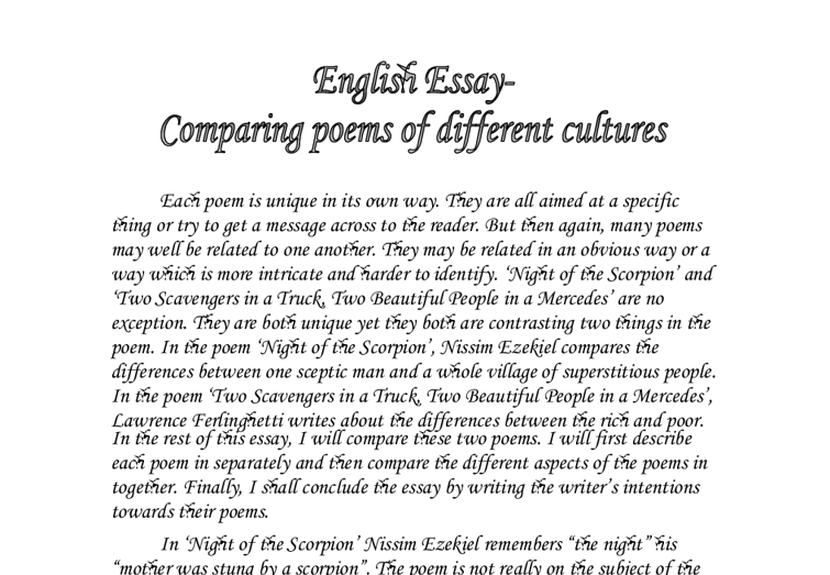 essay comparing two cultures Comparison of chinese and american film industry essay 6288 words | 26 pages comparison of chinese and american film industry introduction a film, also called a movie, is a modern art that combines pictures and voices to entertain people and express certain ethnic or political attitudes and other concerns.