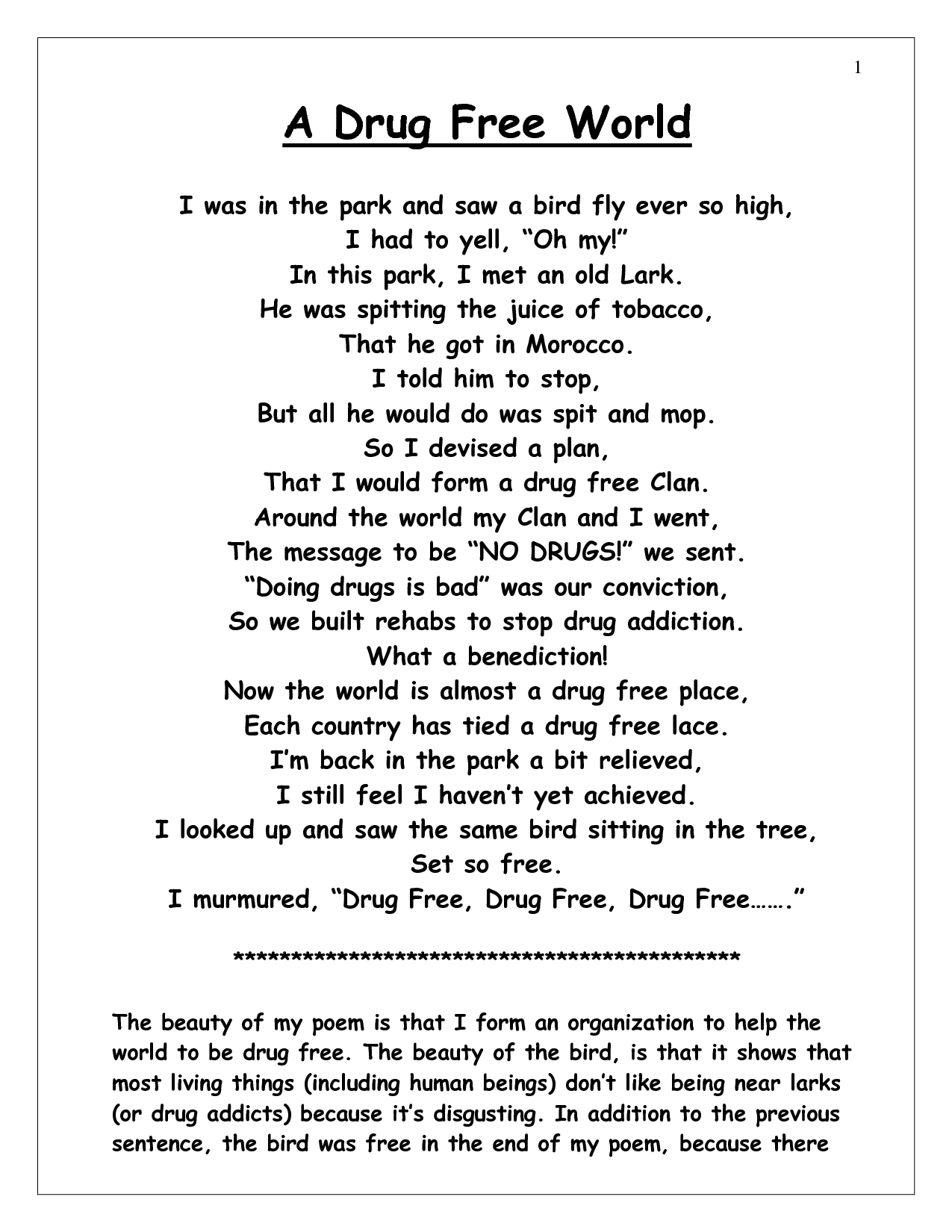 Drug Free Poems