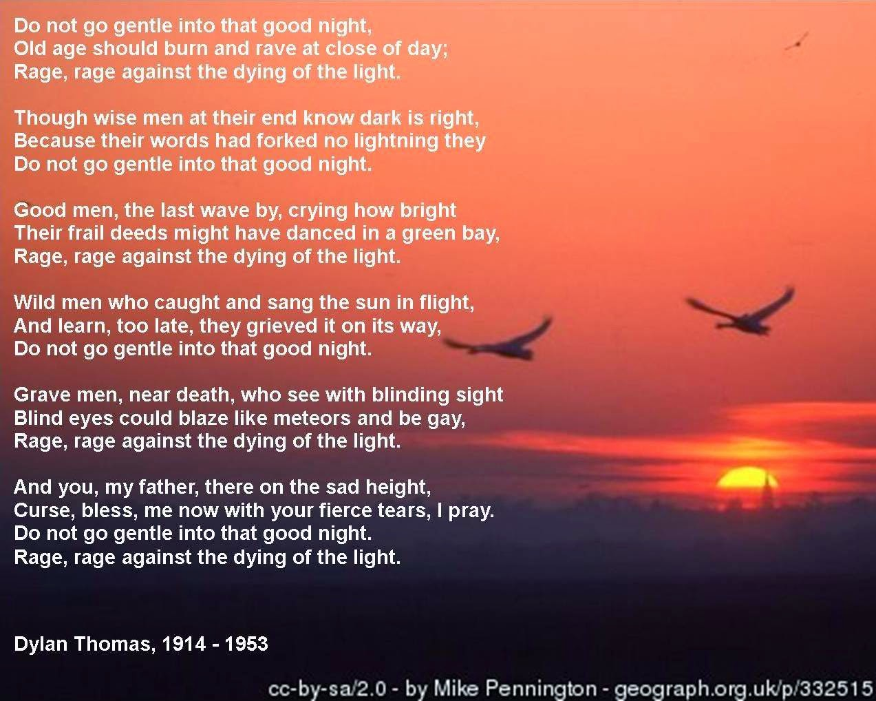 compare and contrast between do not go gentle into that good night and because i could not stop for  What effect does thomas' use of the villanelle form have on the tone of do not go gentle into that good night in contrast to to an athlete dying young what are the similarities and differences between each poem's presentation of death.