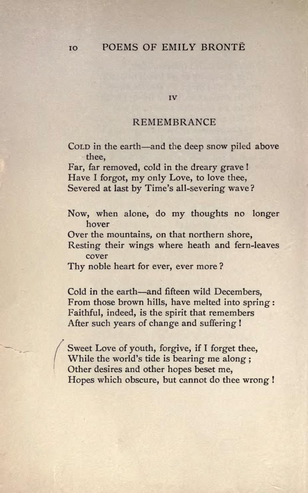 Remembrance by emily bronte essay