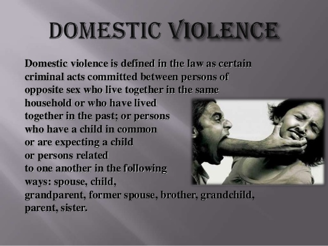 stricter laws and punishment should be imposed against domestic violence offenders Domestic violence is a violent act committed against a person in a domestic relationship whom the law protects from assault, such as a spouse, a relative, or a dating or sexual partner some states also classify threats to commit violent acts against protected persons as domestic violence.