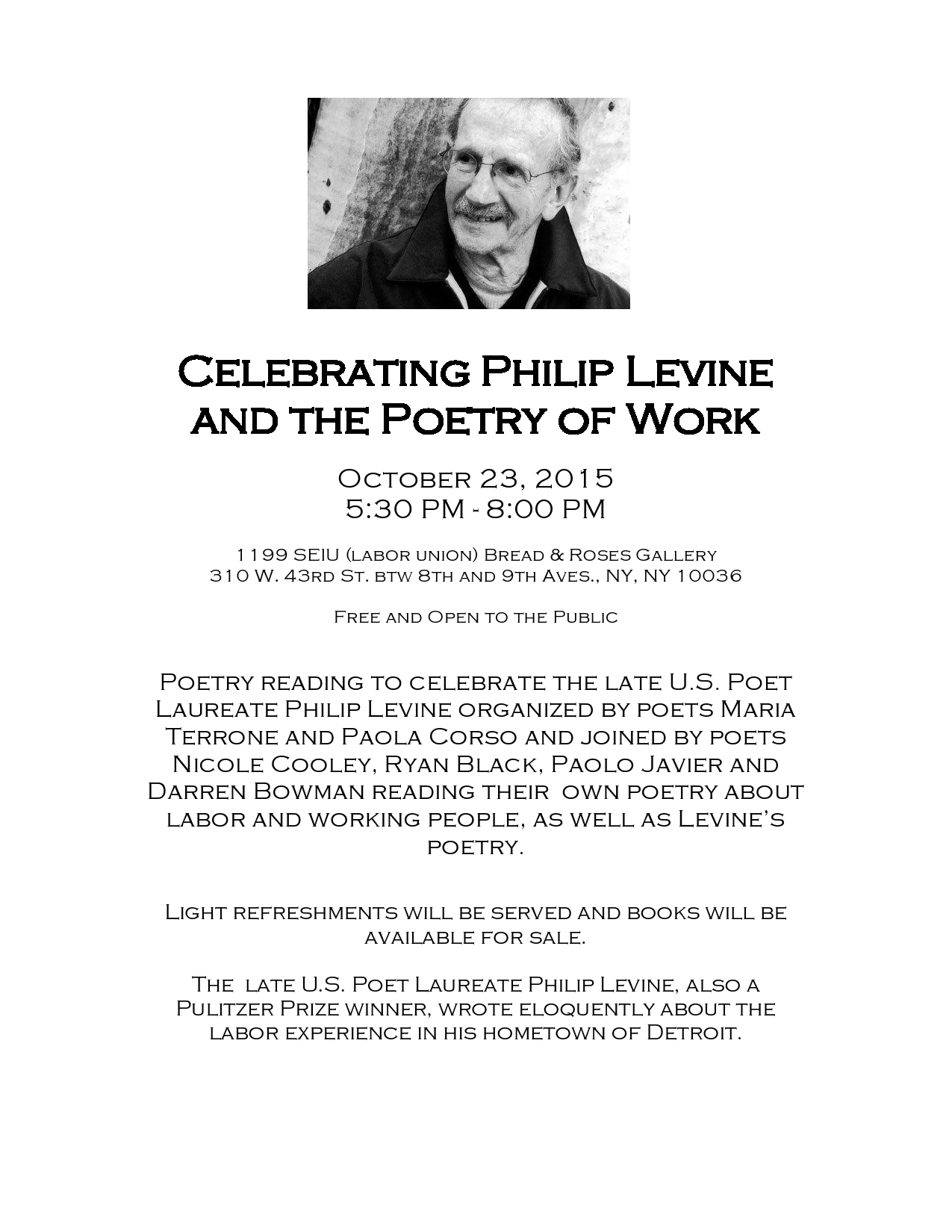 a review of philip levines poem you can have it Philip levine's detroit  i know that i can always flip open to a poem of levine's, begin reading it out loud, and by mid-poem even the most tuned-out students will soon be sitting up, gazing up.