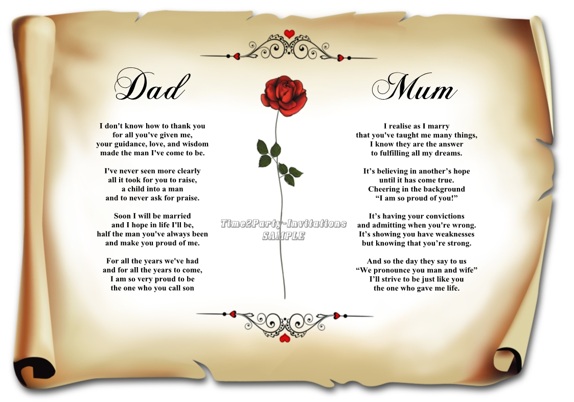 Poetry For Mum And Dad Wedding Tips Inspiration