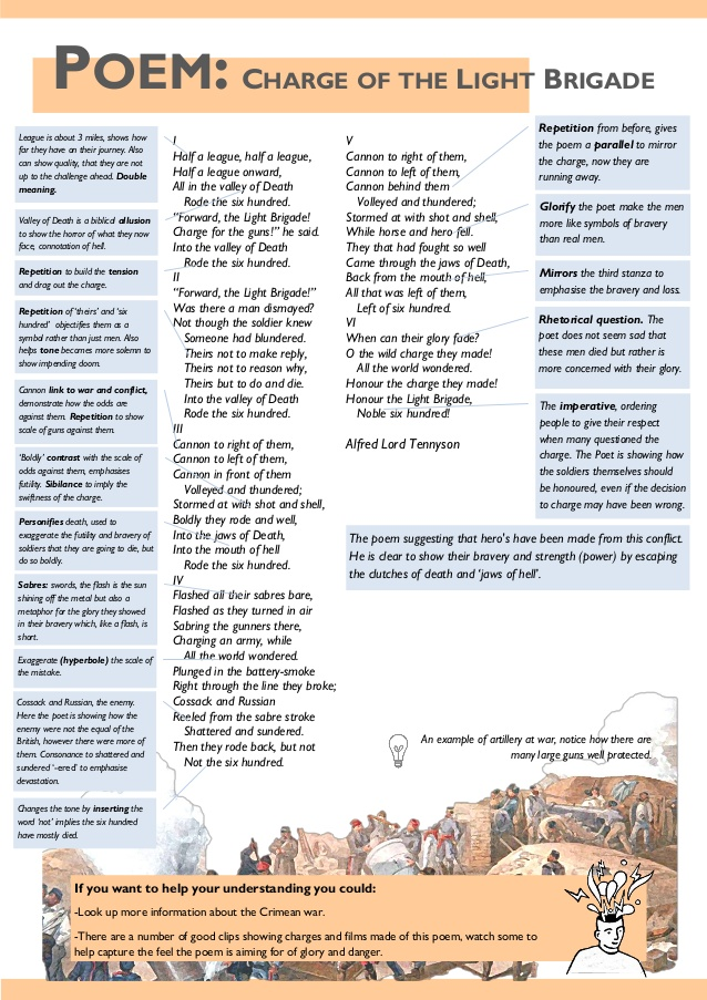 comparison of the charge of the Two such examples are the charge of the light brigade by alfred tennyson inspired by the famous attack of the 1854, and disab the crimean war in the 1850s and the great war in the early 1900s have both been an inspiration for great prose and poetry.