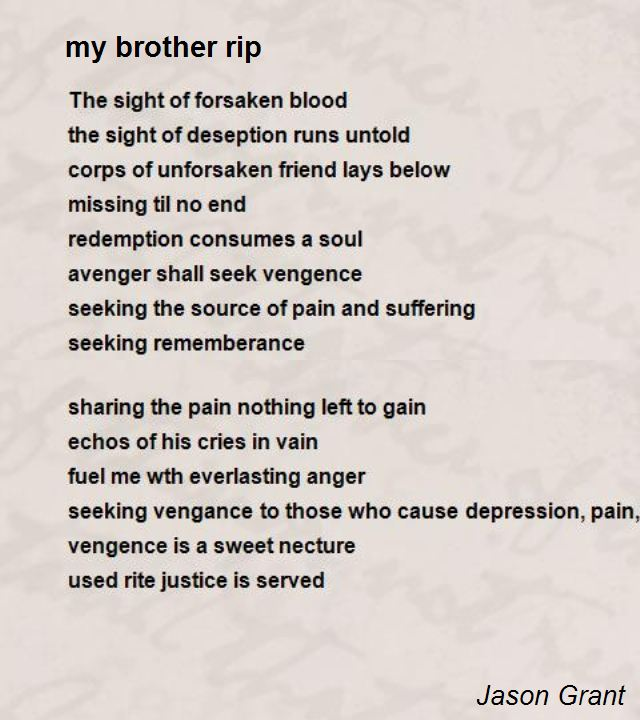 Rip brother Poems