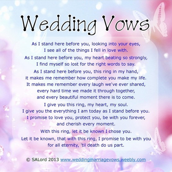 Christian wedding vows examples for groom and bride.