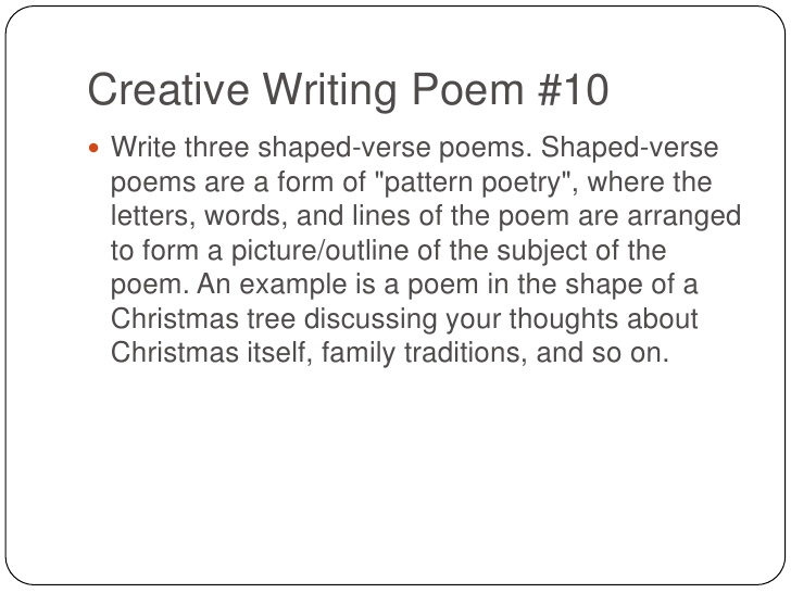 creative writing christmas poems Poems from the russian, welsh, and other tongues read more discussion guide  brief reflection on killing the christmas carp by miroslav holub dreams by miroslav holub napoleon  creative writing by miroslav holub about this poet miroslav holub is a scientist by vocation and considers his poetry a pastime.