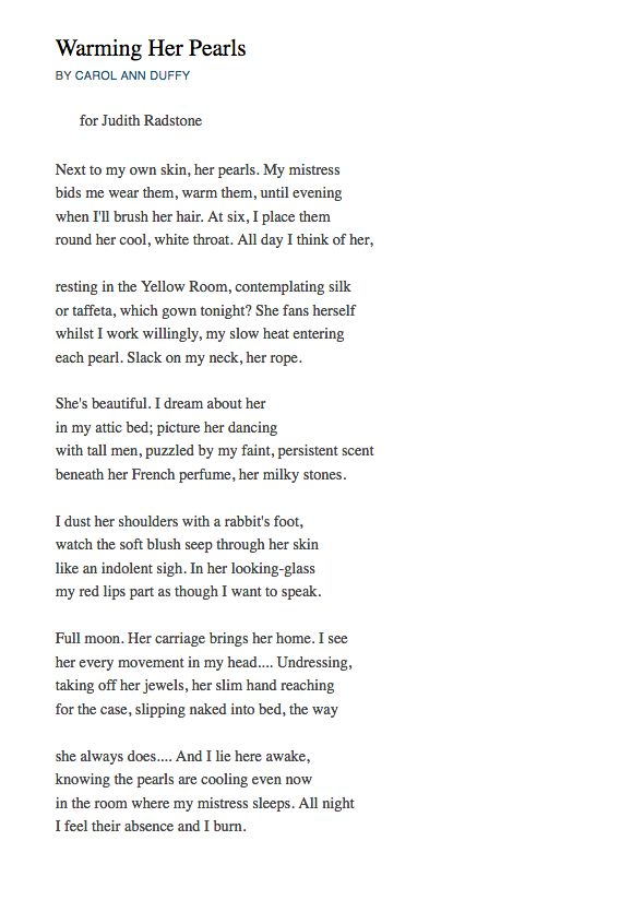 carol ann duffys poetry essay Essay around themes of 'the long queen/ by carol ann duffy ' lucy brumby the collection of poems from which we are given 'the long queen' is named 'feminine gospels' roughly translated as the teachings of feminism, or a collection of feminine beliefs, aiming to give the reader visions of.