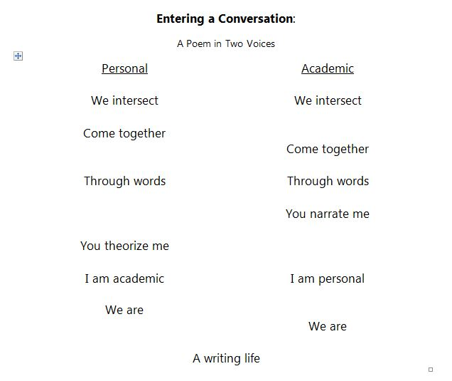 Teaching toolbox / two-voice poem.