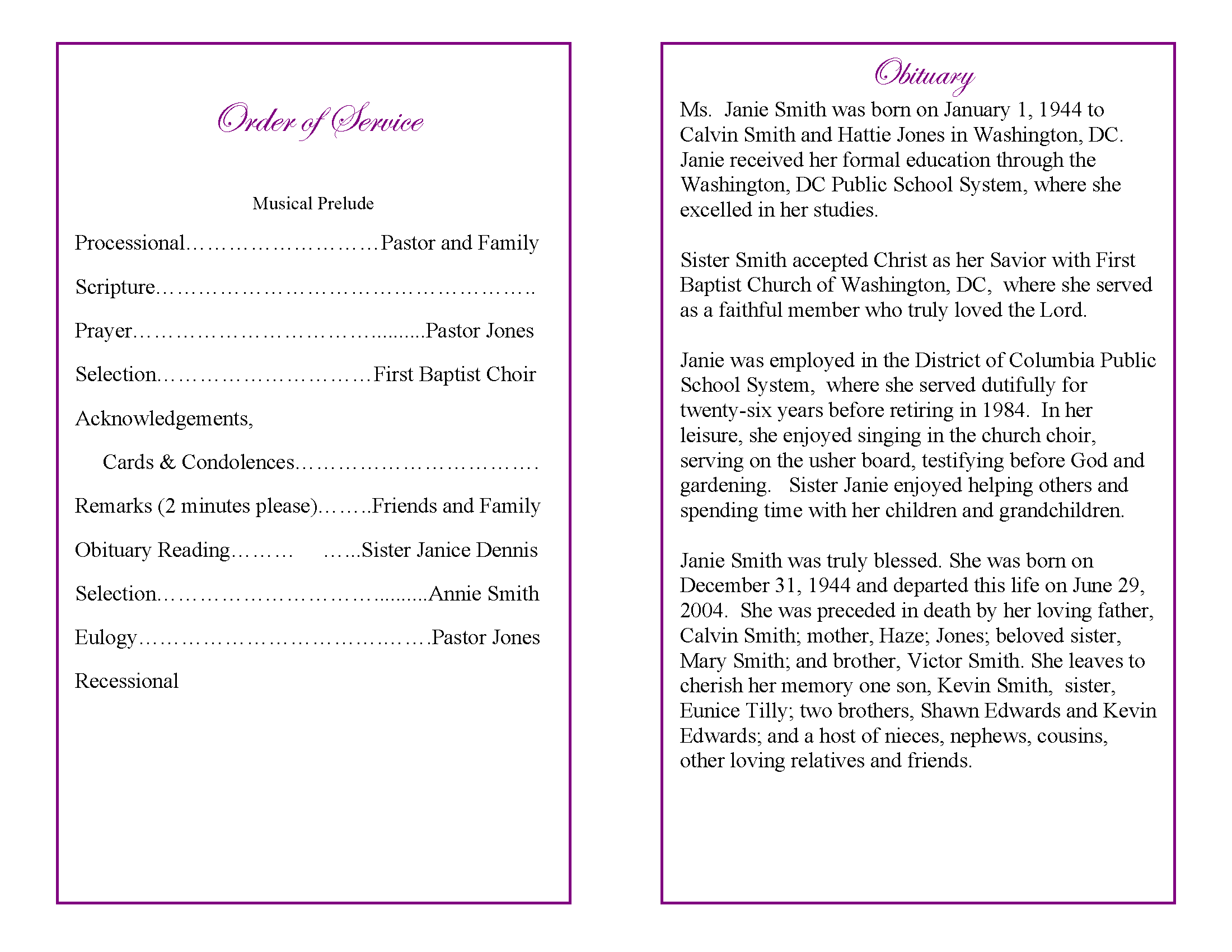sample obituary poems