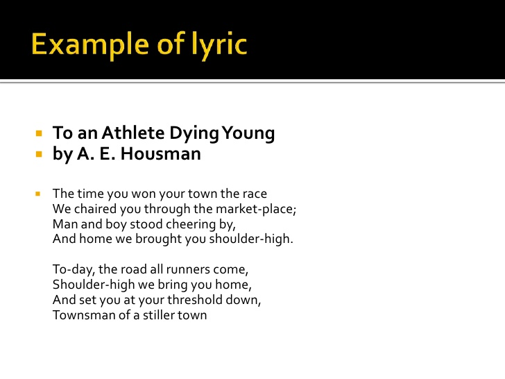 """to an athlete dying young poem analysis Analysis of """"to an athlete dying young"""" in his poem """"to an athlete dying young"""", ae housman makes a quite different approach on death."""