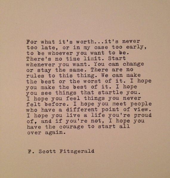 F. Scott Fitzgerald Typewriter Quote On LOVE / Handtyped .