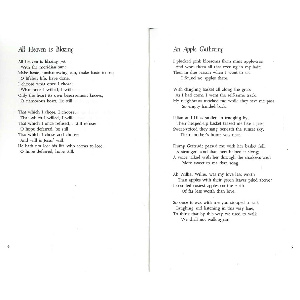 christina essay poem rossetti The victorian period witnessed massive changes in thinking about women's roles in society dr simon avery asks how christina rossetti's poetry sits within this context, looking at her representations of oppression, female identity, marriage and the play of power between men and women in 1870, the.