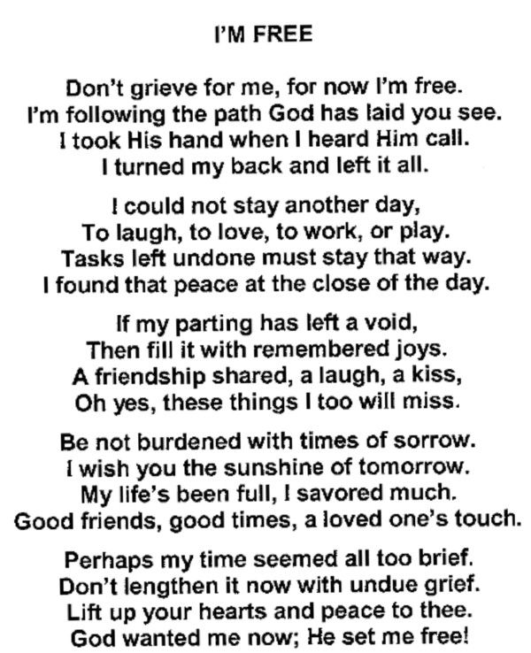 sample obituary poems
