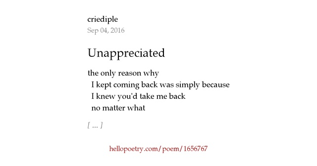 Feeling unappreciated poems