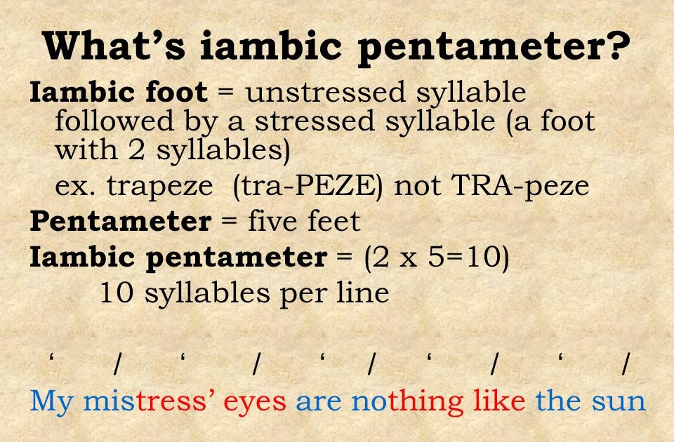 iambic pentameter example of macbeth Review the examples of iambic pentameter, or blank verse, from shakespeare's there are also forms of unrhymed iambic pentameter, as in macbeth, with the noble characters this metrical pattern of writing is also known as blank verse, and shakespeare was famous for composing his plays as such.