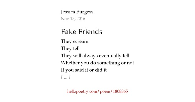 Fake friend poems
